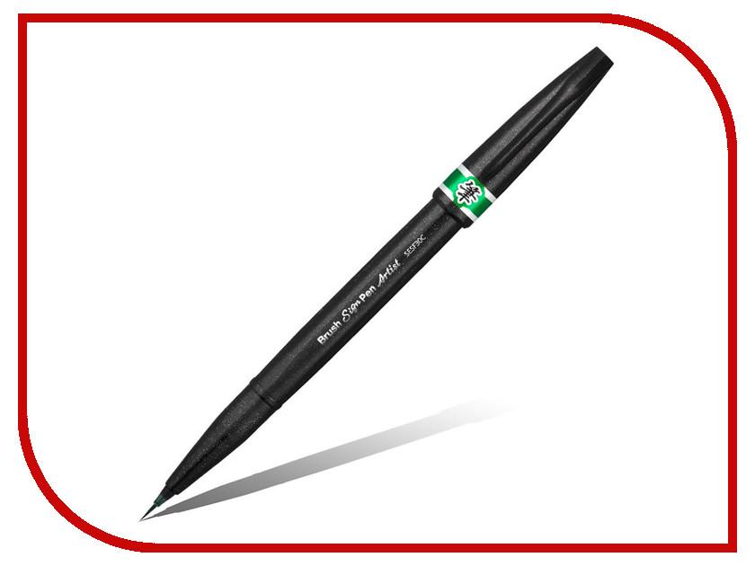 Кисть Pentel Brush Sign Pen Artist Ultra-Fine Green SESF30C-D, Япония  - купить со скидкой