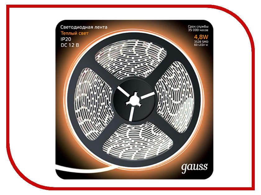 Купить Светодиодная лента Gauss LED 2835/60-SMD 4.8W 12V DC 5m Warm White 312000105