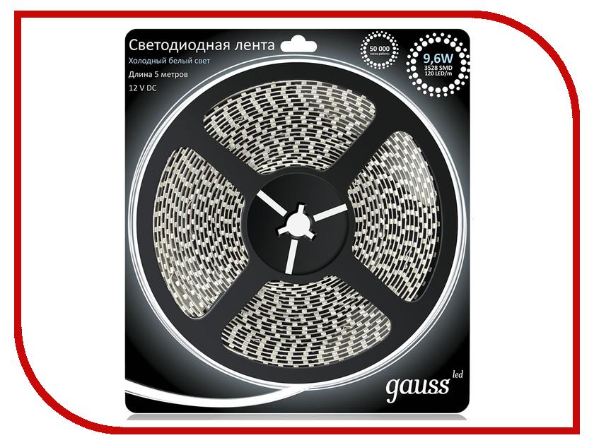 Купить Светодиодная лента Gauss LED 2835/120-SMD 9.6W 12V DC IP66 5m Cold White 311000310