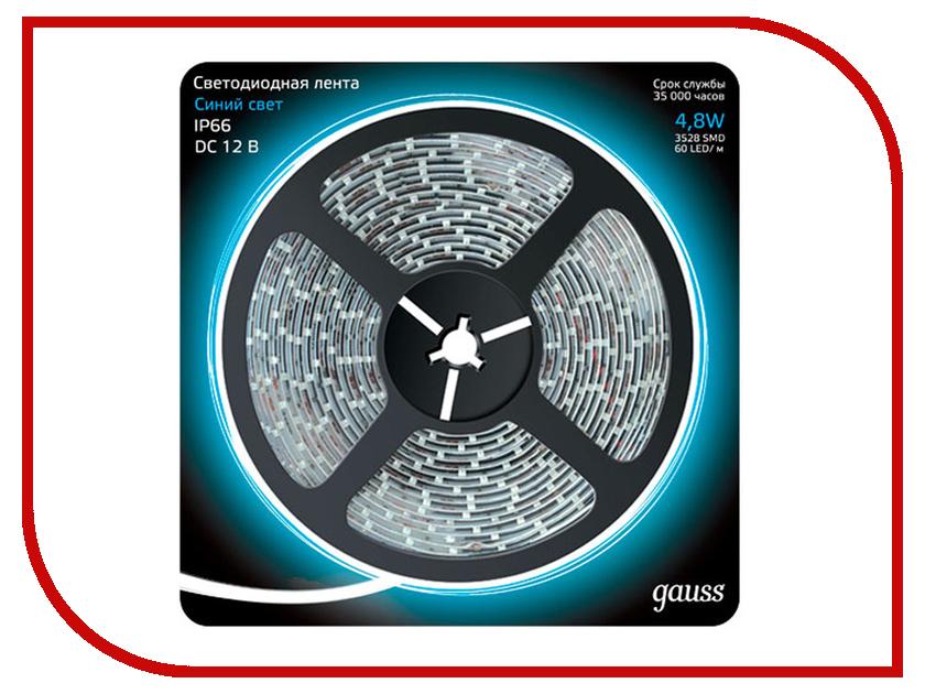 Купить Светодиодная лента Gauss LED 2835/60-SMD 4.8W 12V DC IP66 5m Blue 311000505