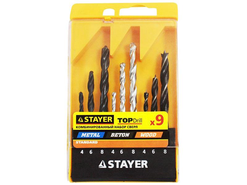 набор инструмента stayer profi 27710 h56 Набор сверл Stayer Standard 9шт 29720-H9
