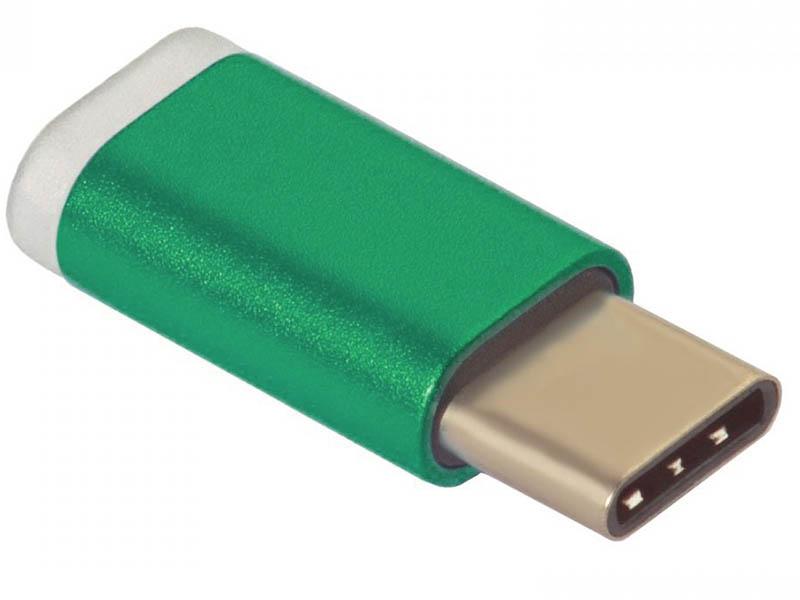 Аксессуар GCR USB Type-C to MicroUSB 2.0 M/F Green GCR-UC3U2MF-Green