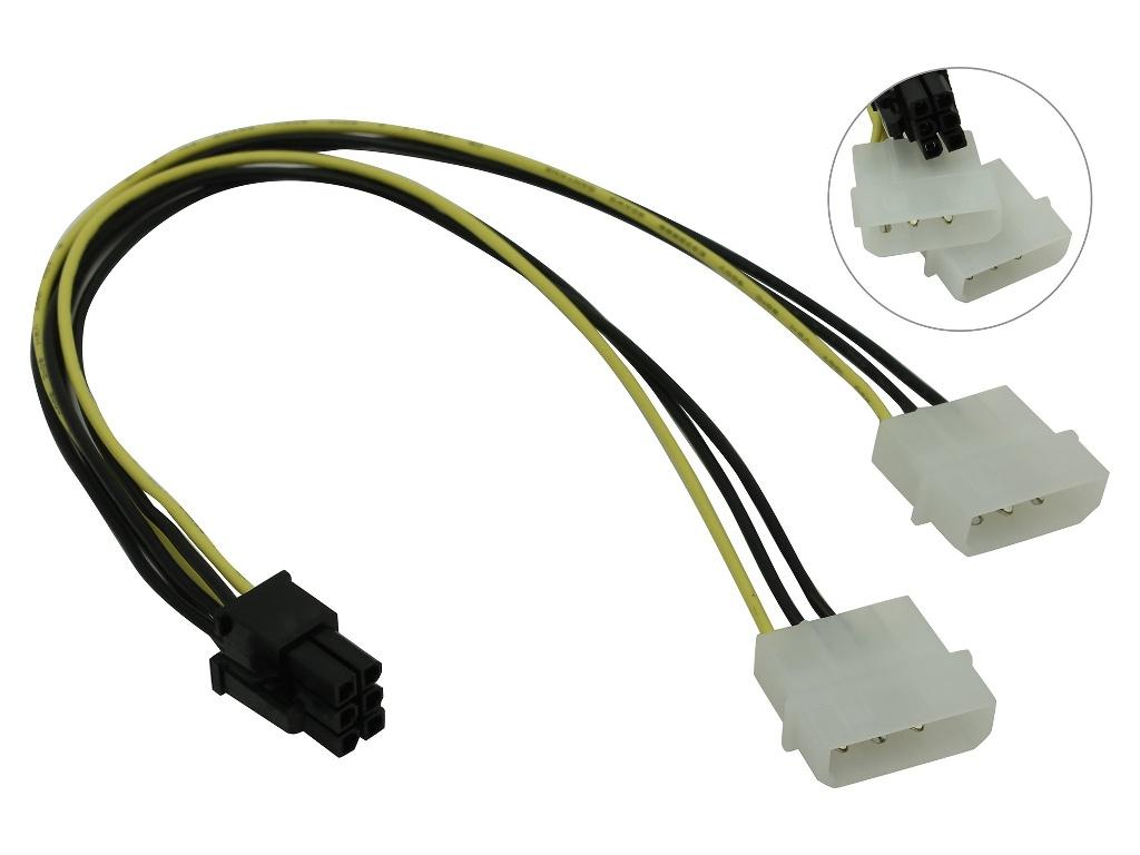 Купить Аксессуар Кабель переходник питания Akasa 2х 4pin Molex to 6pin PCIe 10cm AK-CB4-6