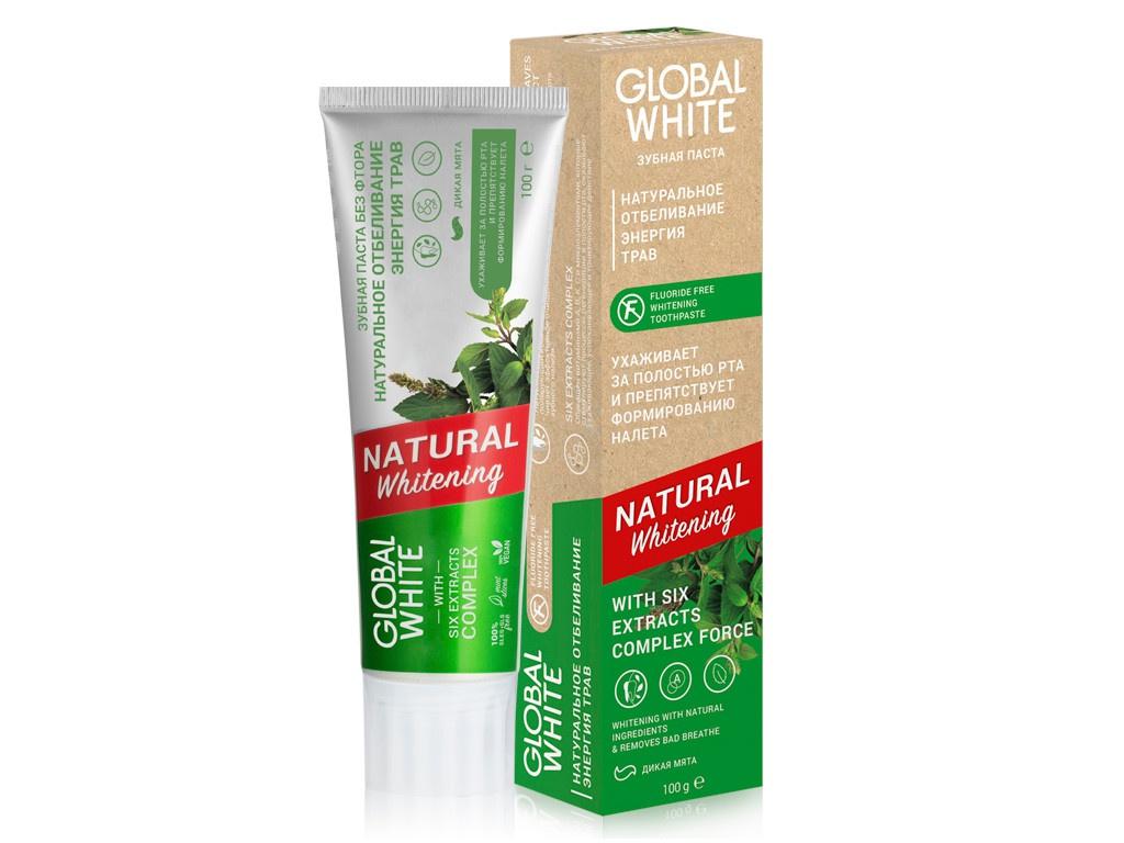 Купить Зубная паста Global White Natural Whitening 100g 4605370017694, NATURAL whitening Натуральное отбеливание. Энергия трав