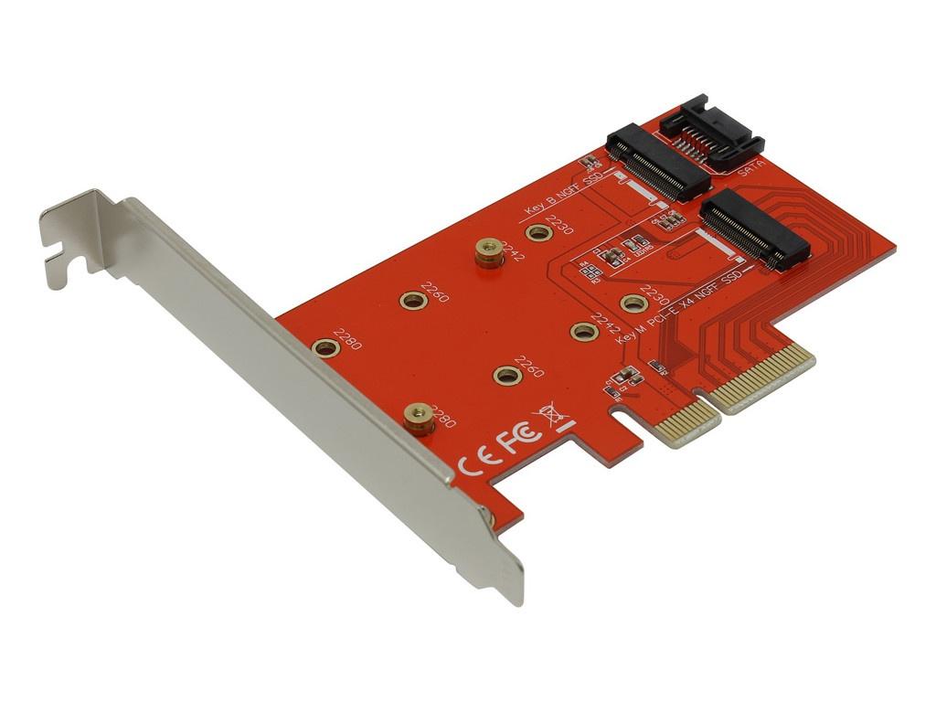 Купить Аксессуар Переходник Orient C296E PCI-E 4x to NGFF (M.2) PCI-E M-key / NGFF (M.2) SATA B-key 30896