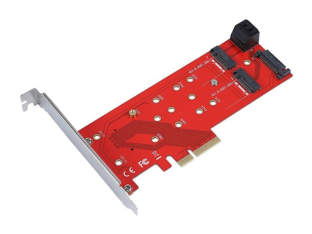 Аксессуар Переходник Orient C298E PCI-E 4x to NGFF (M.2) M-key / 2xNGFF SATA B-key 30898