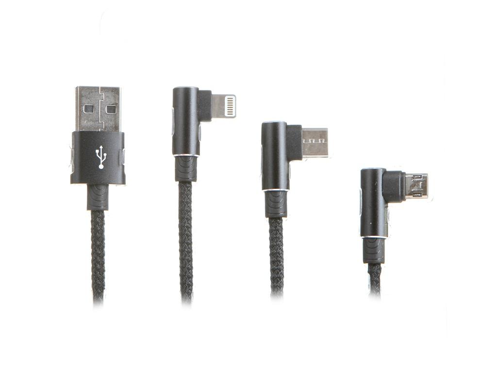 Фото - Аксессуар Baseus MVP 3-in-1 Mobile Game Cable USB - Type-C / MicroUSB / Lightning 1.2m Black CAMLT-WZ01 аксессуар nomad universal cable 3in1 type c type c microusb usb a 1 5m black nm0191c090