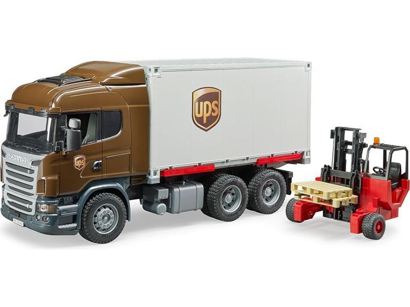 Купить Игрушка Bruder Scania Фургон UPS с погрузчиком и паллетами 03-581, Германия