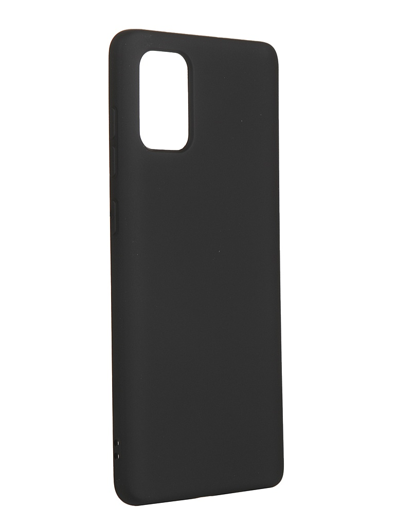 Чехол с микрофиброй DF для Samsung Galaxy A71 Silicone Black sOriginal-08