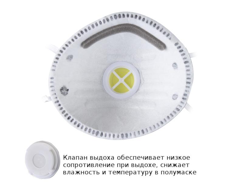 Защитная маска FIT 12292М 3-х слойная класс защиты FFP1 (до 4 ПДК) - с угольным фильтром и клапаном