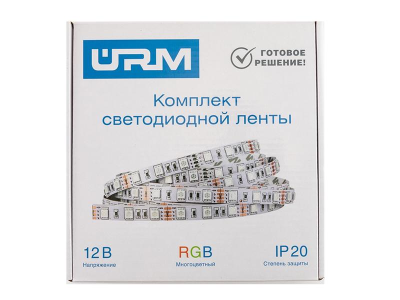 Светодиодная лента URM SMD 5050 60 LED 12V 14.4W 840lm IP20 RGB 2x 5.0m N01005