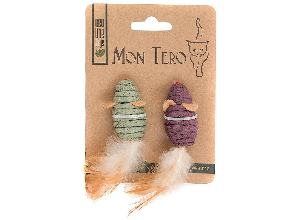Игрушка для кошек Mon Tero Эко мышь с кошачьей мятой Green-Purple 51471