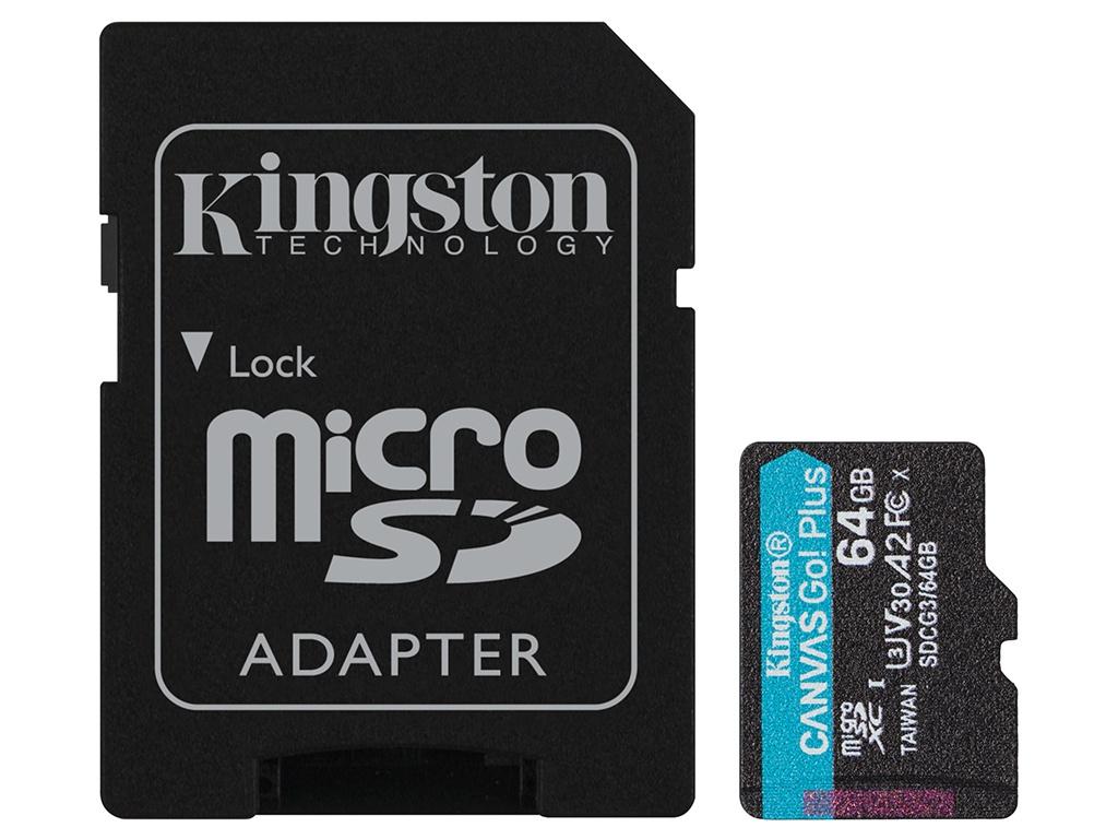 Карта памяти 64Gb - Kingston Canvas Go! Micro Secure Digital HC Class10 UHS-I Select + SD Adapter SDCG3/64GB с переходником под