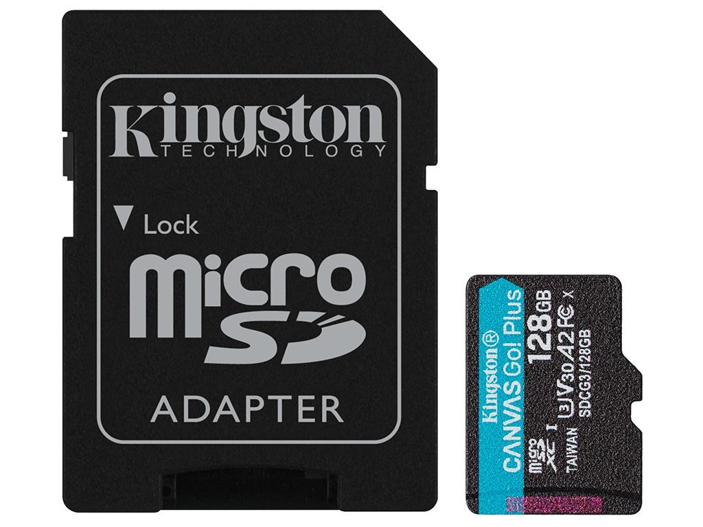 Карта памяти 128Gb - Kingston Canvas Go! Micro Secure Digital HC Class10 UHS-I Select + SD Adapter SDCG3/128GB с переходником под