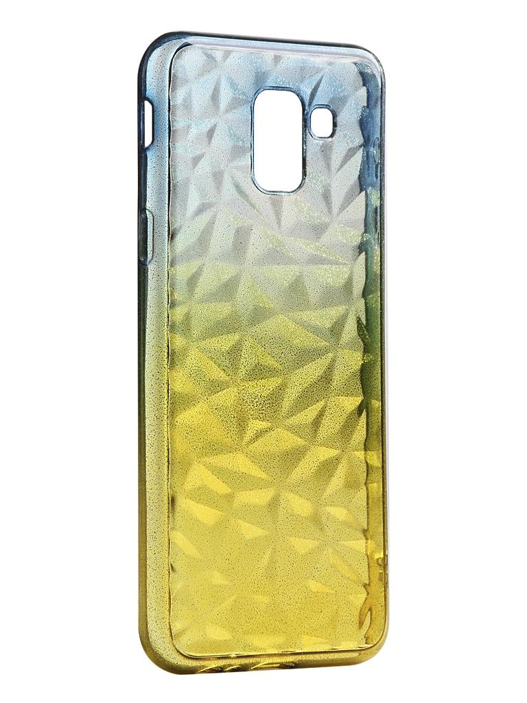 Чехол Krutoff для Samsung Galaxy J6 2018 SM-J600 Crystal Silicone Yellow-Blue 12245