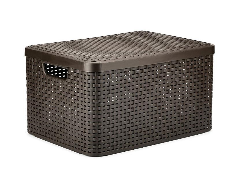 Корзина Curver Rattan Style Box L 30L + крышка Dark Brown 03619-210