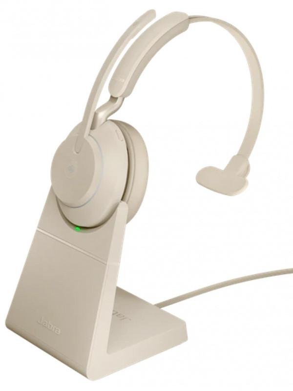 Наушники Jabra Evolve2 65 Link380c UC Mono Stand Beige 26599-889-888 наушники jabra evolve2 65 link380c uc stereo stand black 26599 989 889