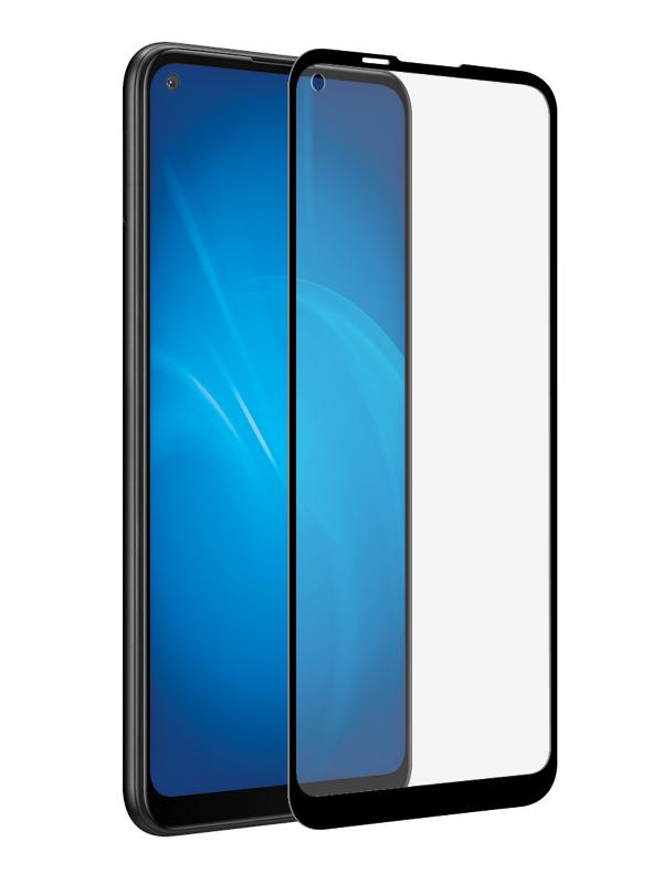 Закаленное стекло DF для Samsung Galaxy A21s Full Screen Full Glue Black Frame sColor-101
