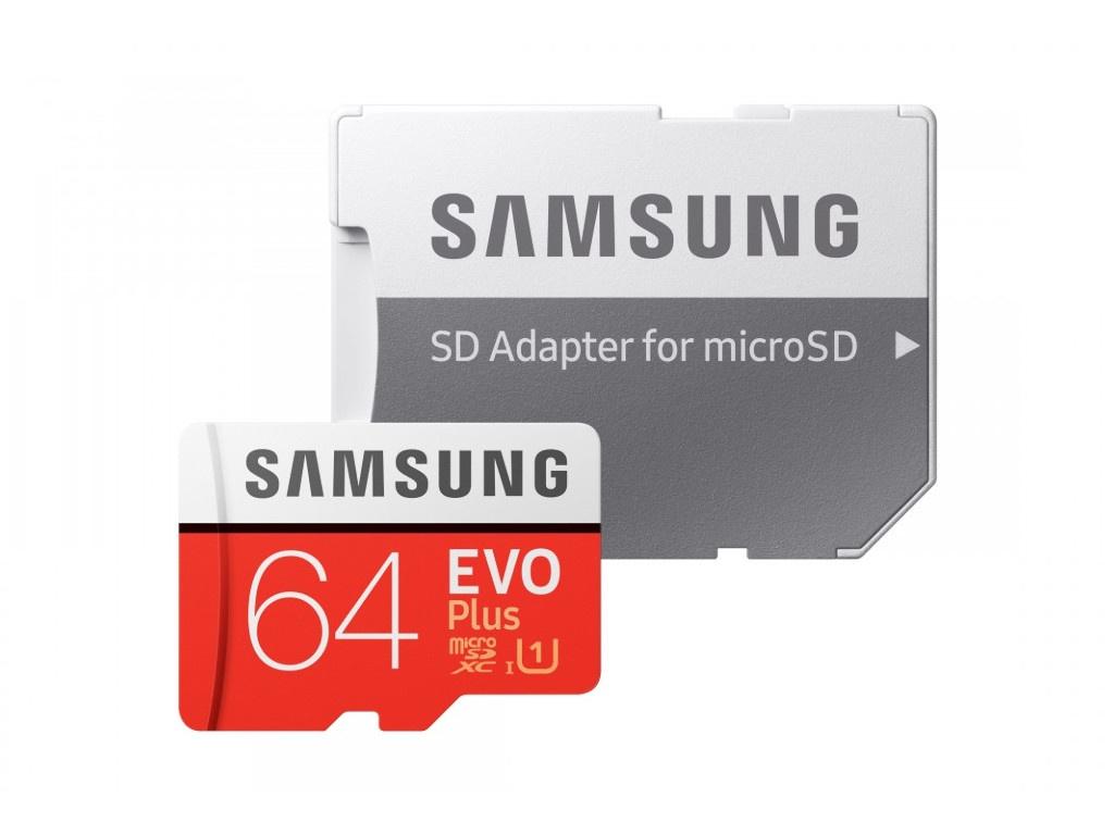 Фото - Карта памяти 64Gb - Samsung - Micro Secure Digital XC EVO Plus UHS-I U1 Class 10 MB-MC64HA/RU с переходником под SD ru