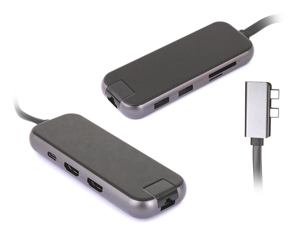 Хаб Baseus Multifunctional Adapter 2xType-C - HDMIx2/USB3.0x2/SD/TF/PD/RJ45 Space Gray CAHUB-FZ0G
