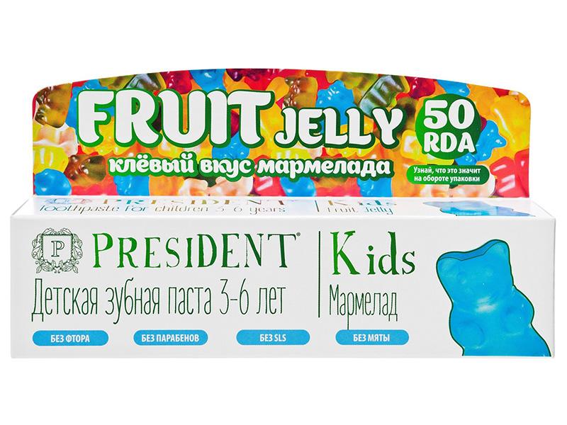 Зубная паста President Kids 3-6 лет Мармелад без фтора 50ml 18028
