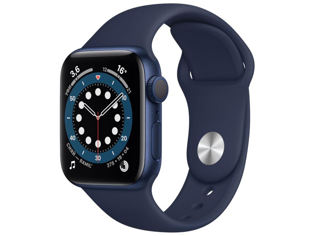 Умные часы APPLE Watch Series 6 40mm Blue Aluminium Case with Deep Navy Sport Band MG143RU/A умные часы apple watch series 6 40mm space gray aluminium case with anthracite black nike sport band m00x3ru a