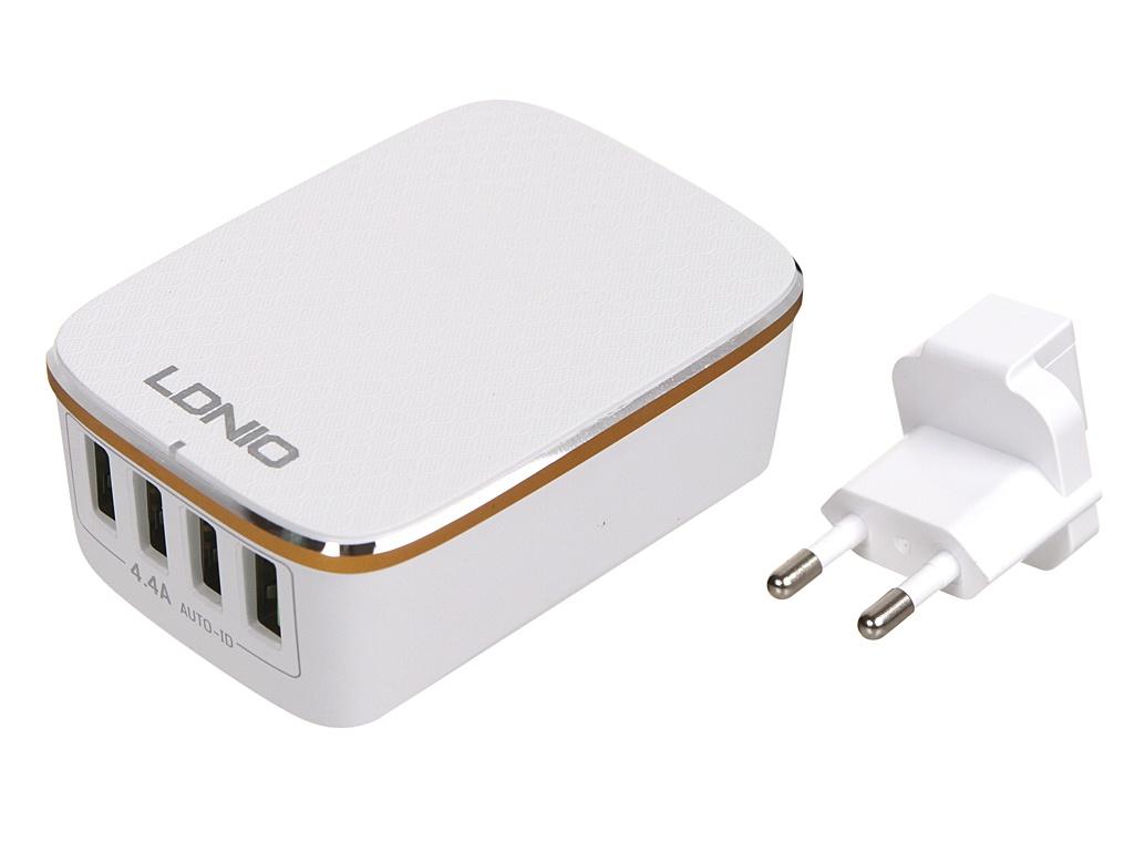 Зарядное устройство Ldnio A4404 4xUSB 4.4A 22W White-Gold LD_B4398