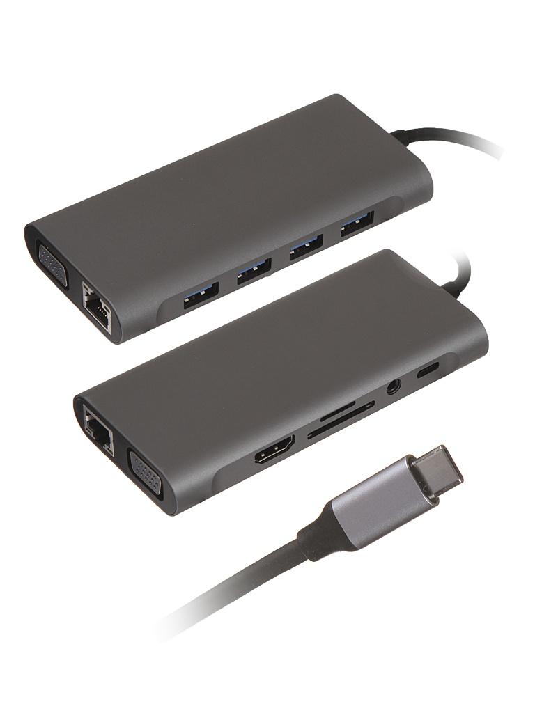 Хаб USB Palmexx 11в1 USB-C - HDMI+VGA+4xUSB 3.0+USB-C+CR+AUX+LAN PX/HUB-008 аксессуар palmexx hdmi vga px hdmi vga