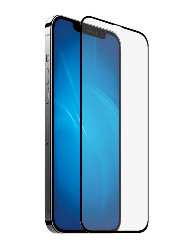 Закаленное стекло DF для iPhone 12 Mini Full Screen Glue Black Frame iColor-24