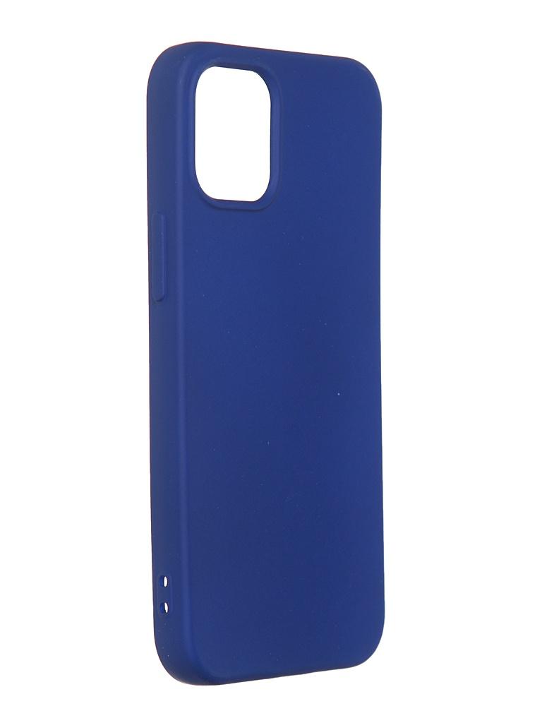 Чехол DF для iPhone 12 mini с микрофиброй Silicone Blue iOriginal-04 чехол df для iphone 12 12 pro с микрофиброй silicone red ioriginal 05