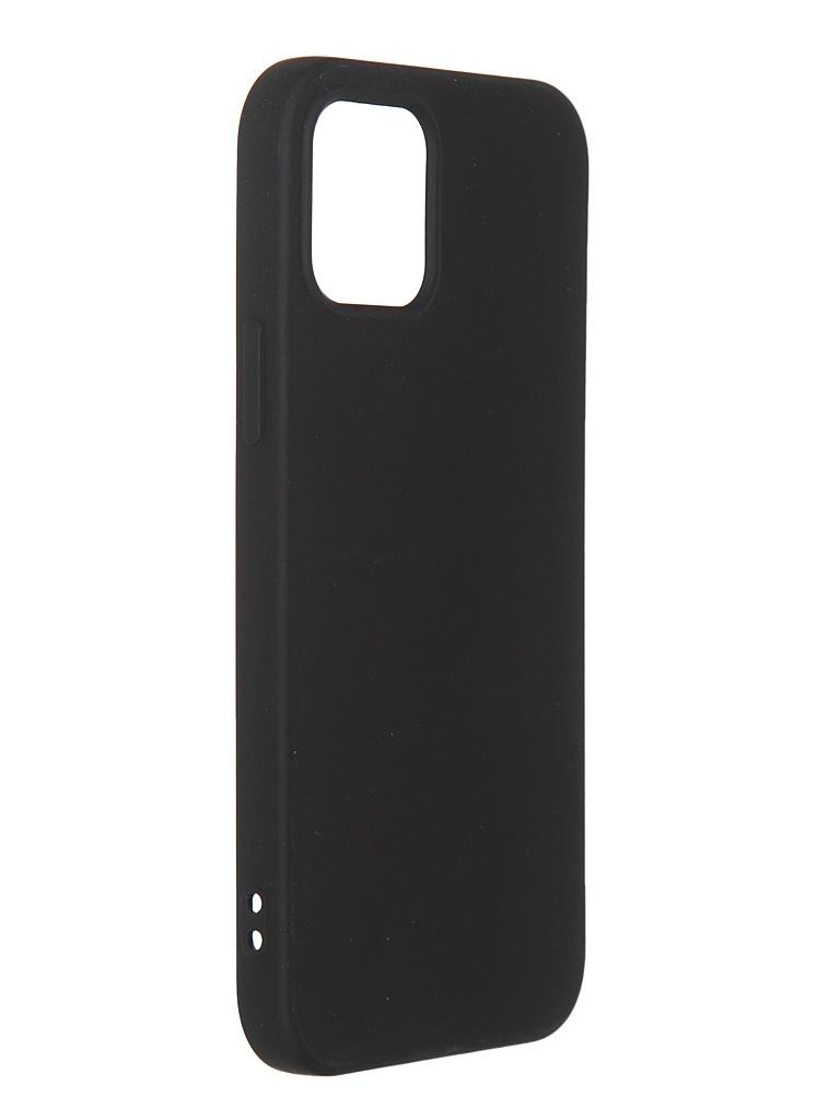 Чехол DF для iPhone 12 / 12 Pro с микрофиброй Silicone Black iOriginal-05 чехол df для iphone 12 12 pro с микрофиброй silicone red ioriginal 05