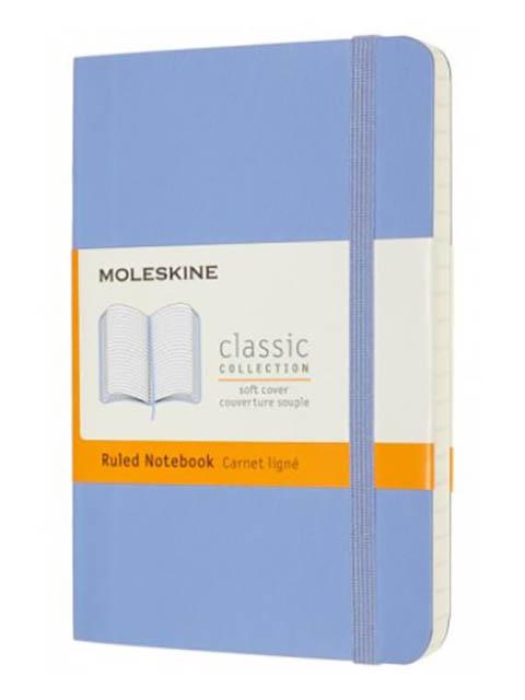 Блокнот Moleskine Classic Soft Pocket 90x140mm 96 листов Blue Hydrangea QP611B42 / 1215742