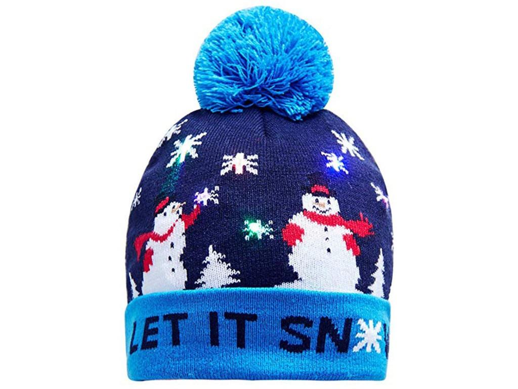 Вязаная новогодняя шапка ZDK Снеговик со светодиодной подсветкой ngHat03