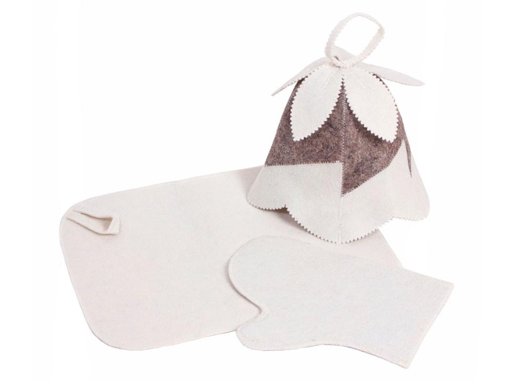 Набор для бани Банная линия Колокольчик: шапка, коврик, рукавица 11-365
