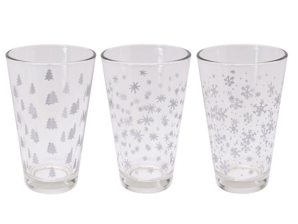 Одноразовые стаканы Koopman International Новогодние конфетти 300ml 3шт White-Silver CC6200290/163490