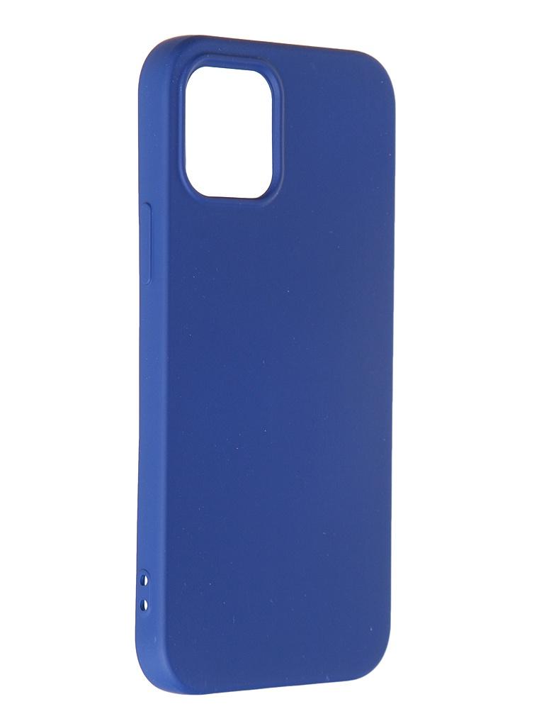 Чехол DF для APPLE iPhone 12/12 Pro Blue iOriginal-05 чехол df для iphone 12 12 pro с микрофиброй silicone red ioriginal 05