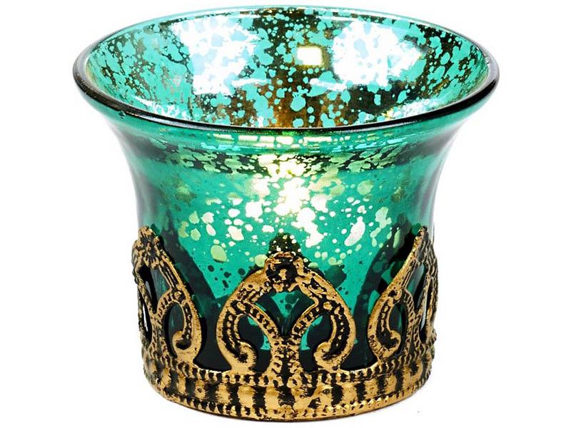 Подсвечник под чайную свечу Омский свечной Кармелио 7cm Light Blue FI10219