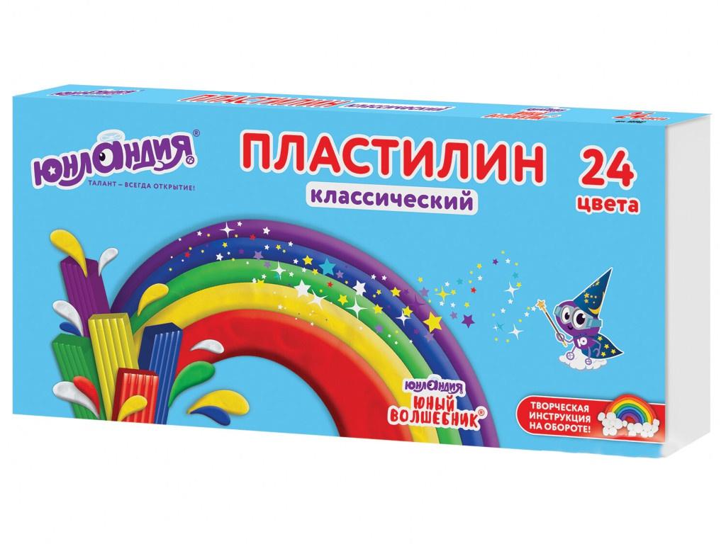 Набор для лепки Юнландия Пластилин Юный волшебник 24 цвета 480g 105902