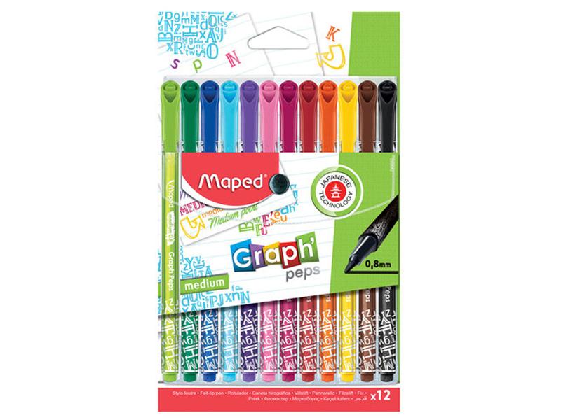 Набор капиллярных ручек Maped Graph Peps 0.8mm 12 цветов 749652
