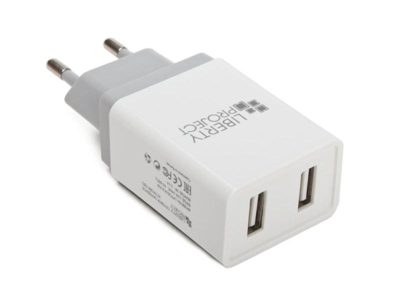 Зарядное устройство Liberty Project 2xUSB 2.1А Brick Series White 0L-00041910