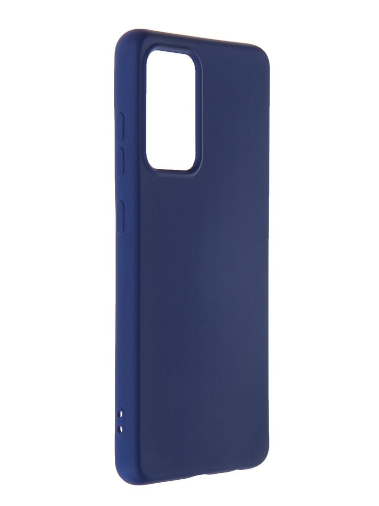 Чехол DF для Samsung Galaxy A52 (4G/5G) с микрофиброй Silicone Blue sOriginal-29