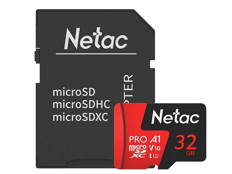 Фото - Карта памяти 32Gb - Netac P500 Extreme Pro MicroSDHC Class 10 A1 V10 NT02P500PRO-032G-R с переходником под SD manfrotto pro light redbee 110 pl bp r 110