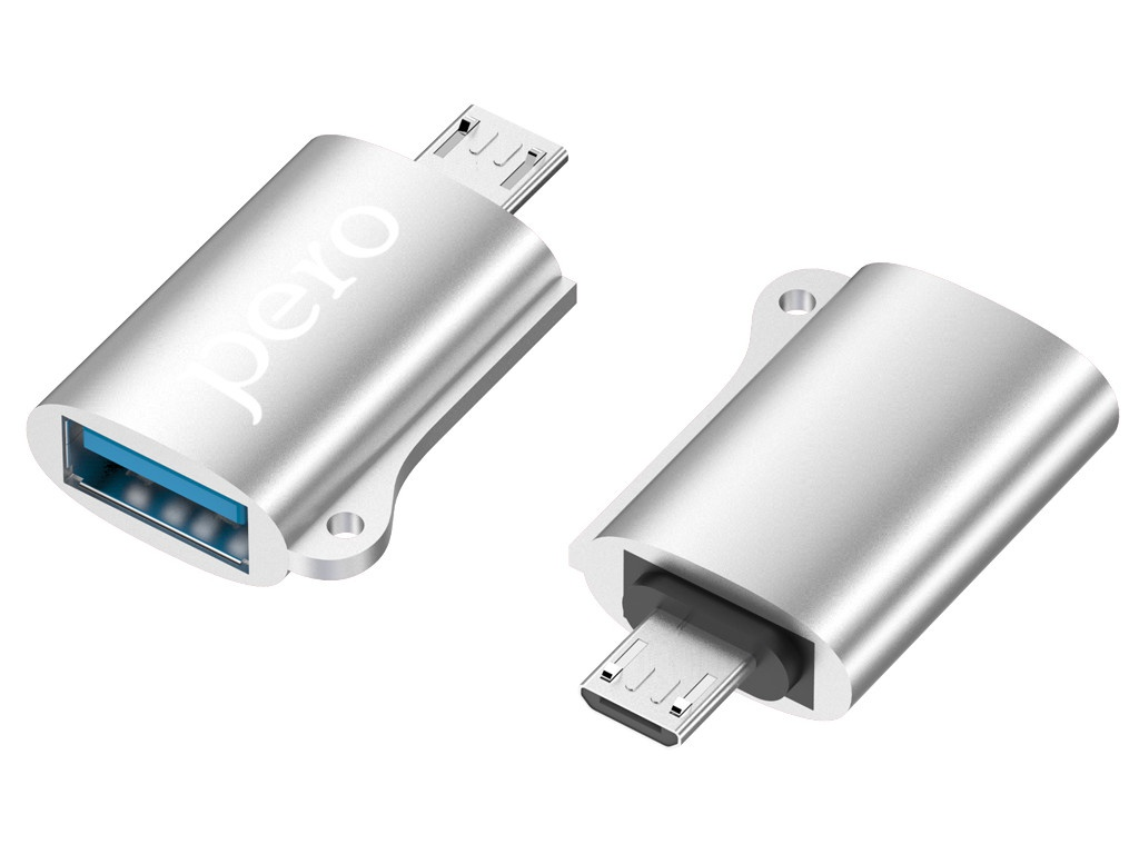Фото - Аксессуар Pero AD02 OTG MicroUSB - USB 2.0 Silver PRAD02MUSR аксессуар чехол pero для nokia 7 silicone transparent prslc n7tr
