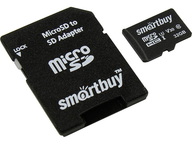 Фото - Карта памяти 32Gb - SmartBuy MicroSD Class 10 Pro UHS-I U3 SB32GBSDCL10U3L-01 с адаптером SD карта памяти sdhc 32gb transcend class10 uhs i