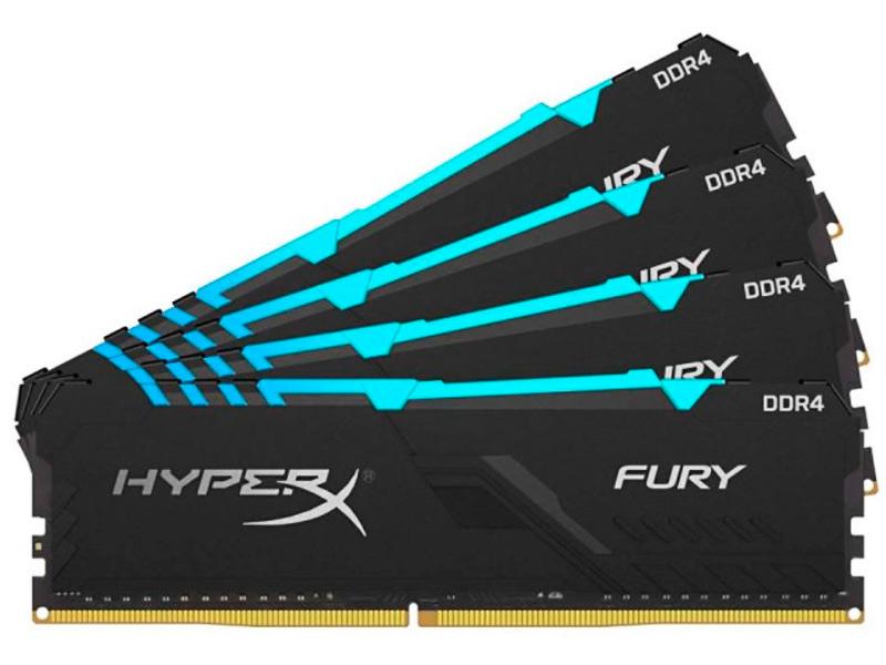 Модуль памяти HyperX Fury RGB DDR4 DIMM 3200MHz PC-25600 CL16 -64Gb KIT (4x16Gb)HX432C16FB4AK4/64