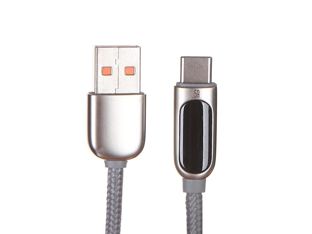 Фото - Аксессуар Baseus Display Fast Charging USB - Type-C 5A 1m Silver CATSK-0S аксессуар baseus white series support vooc usb type c 5a 1m black catsw f01
