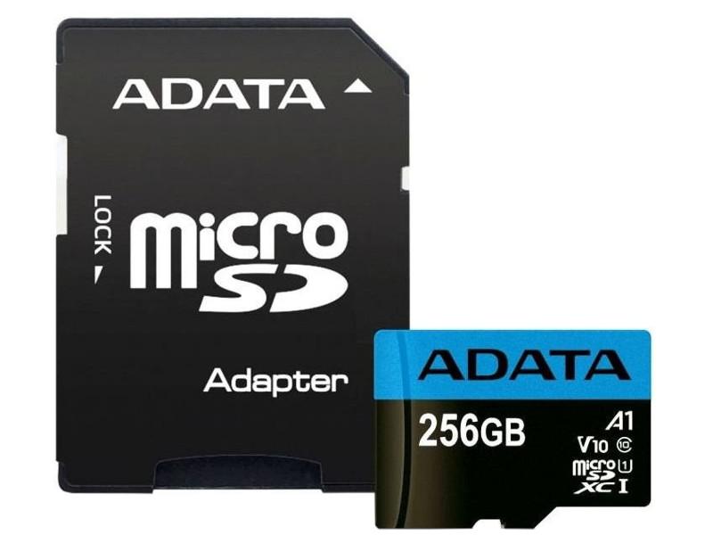 Фото - Карта памяти 256Gb - A-Data Premier MicroSDXC Class 10 UHS-I V10 A1 AUSDX256GUICL10A1-RA1 с переходником под SD карта памяти adata 256gb microsdxc class 10 uhs i a1 100 25 mb s sd адаптер ausdx256guicl10a1 ra1