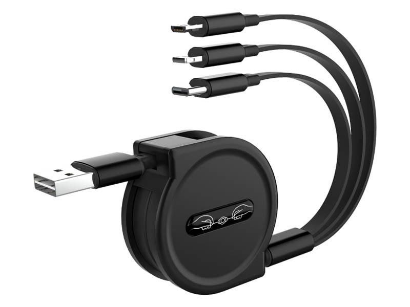 Фото - Аксессуар WIIIX 3 в 1 USB - Lightning / Micro USB / Type-C 1.2m Black CB-718tp-U8MUTC(1.2)-B аксессуар aukey usb 2 0 usb c usb c 90cm black cb cd45