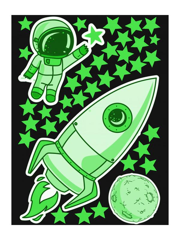 Наклейка Светящаяся наклейка Люми-Зуми Ракета, космонавт, луна и звезды СН-РКЛЗ