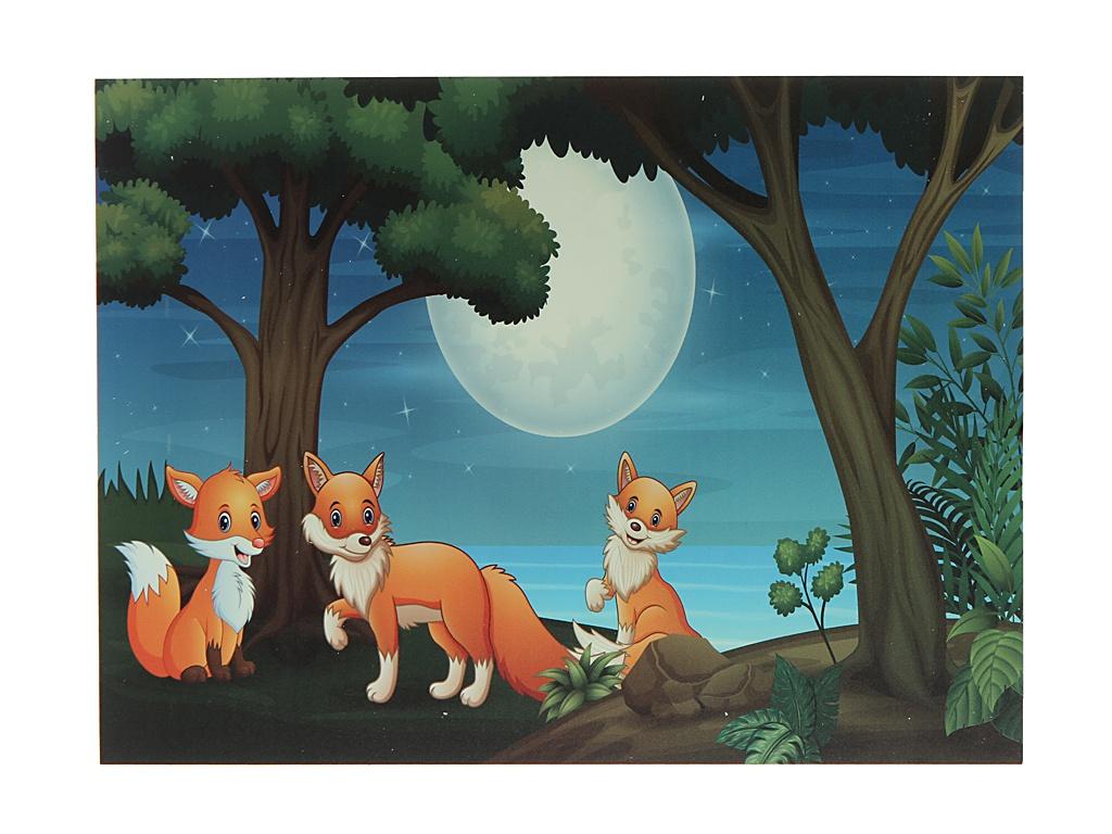 Наклейка Светящаяся картина Люми-Зуми Лисички в лесу ЛЗ-ЛЛА3